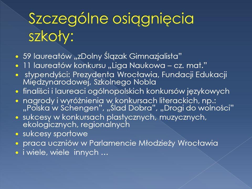 59 laureatów zDolny Ślązak Gimnazjalista 11 laureatów konkursu Liga Naukowa – cz. mat. stypendyści: Prezydenta Wrocławia, Fundacji Edukacji Międzynaro