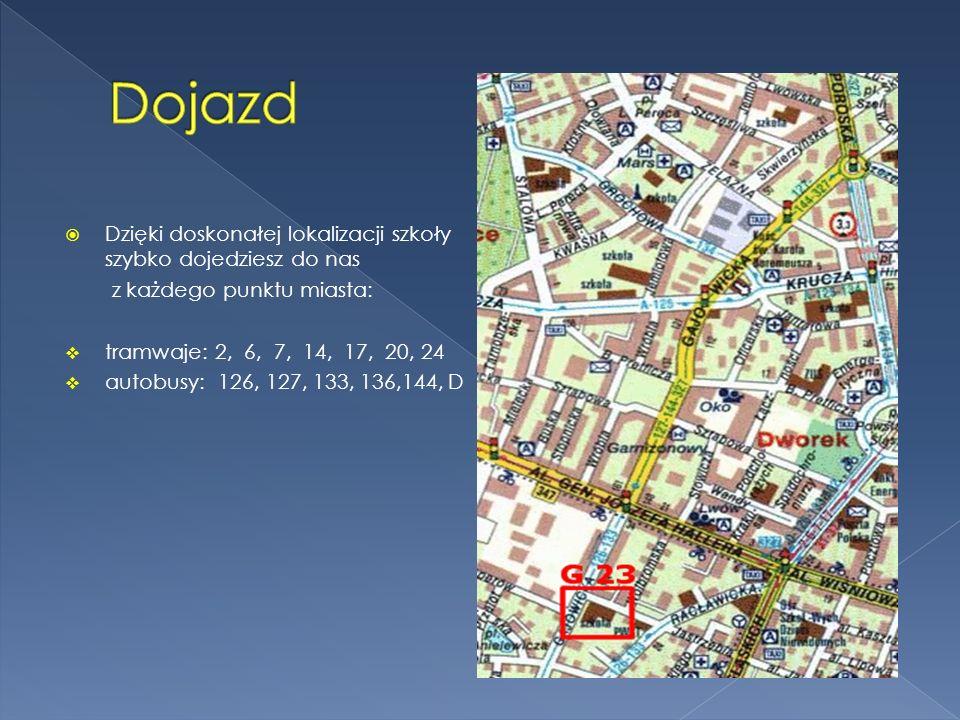 Dzięki doskonałej lokalizacji szkoły szybko dojedziesz do nas z każdego punktu miasta: tramwaje: 2, 6, 7, 14, 17, 20, 24 autobusy: 126, 127, 133, 136,