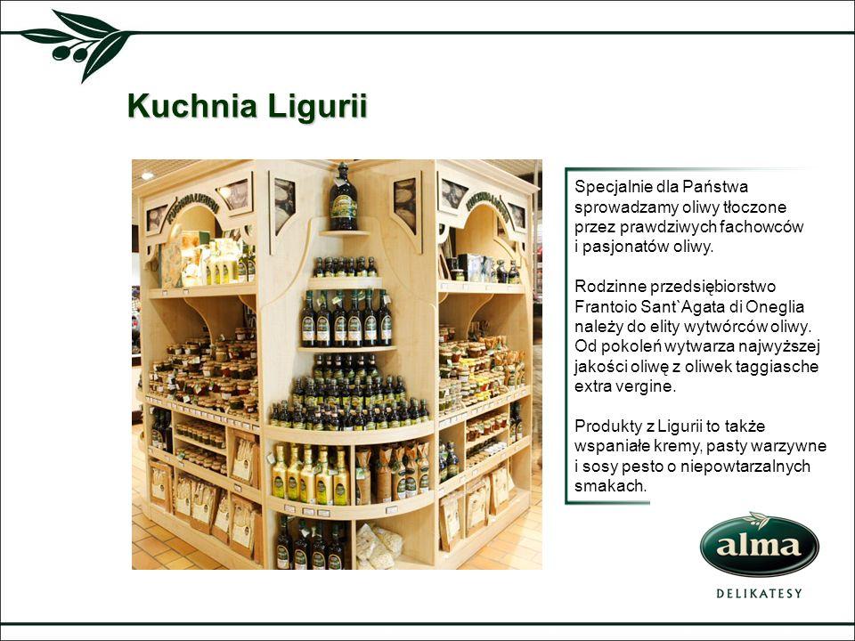 Kuchnia Ligurii Specjalnie dla Państwa sprowadzamy oliwy tłoczone przez prawdziwych fachowców i pasjonatów oliwy. Rodzinne przedsiębiorstwo Frantoio S