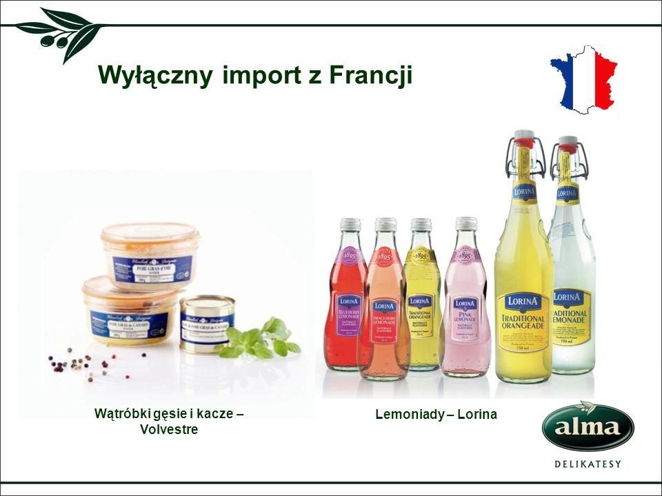 Wyłączny import z Francji Lemoniady – Lorina Wątróbki gęsie i kacze – Volvestre