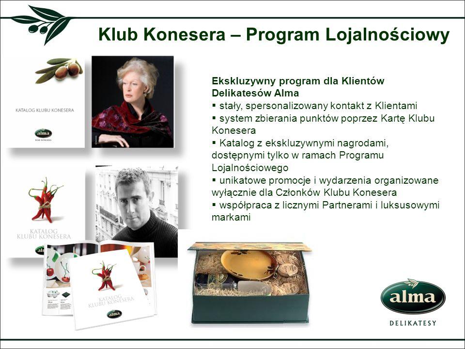 Klub Konesera – Program Lojalnościowy Ekskluzywny program dla Klientów Delikatesów Alma stały, spersonalizowany kontakt z Klientami system zbierania p