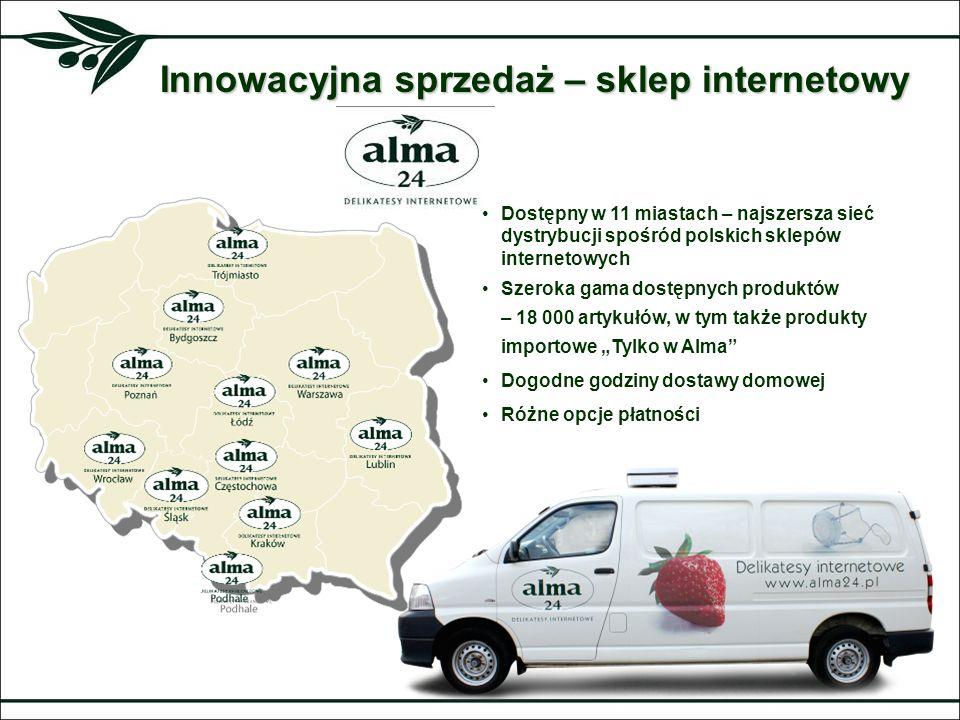 Innowacyjna sprzedaż – sklep internetowy Dostępny w 11 miastach – najszersza sieć dystrybucji spośród polskich sklepów internetowych Szeroka gama dost