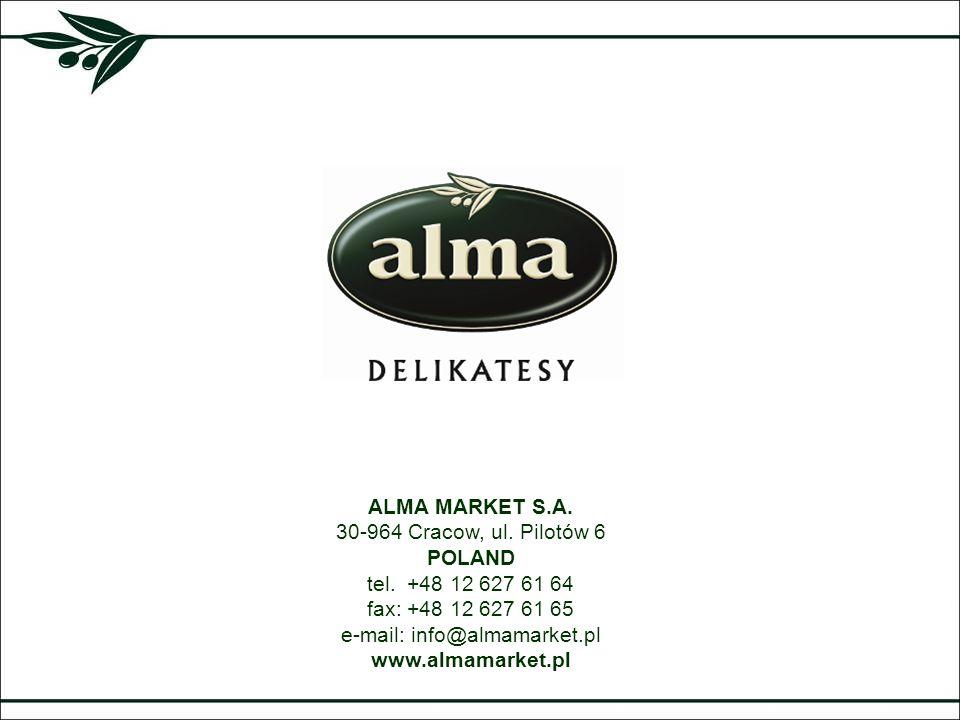 ALMA MARKET S.A. 30-964 Cracow, ul. Pilotów 6 POLAND tel. +48 12 627 61 64 fax: +48 12 627 61 65 e-mail: info@almamarket.pl www.almamarket.pl