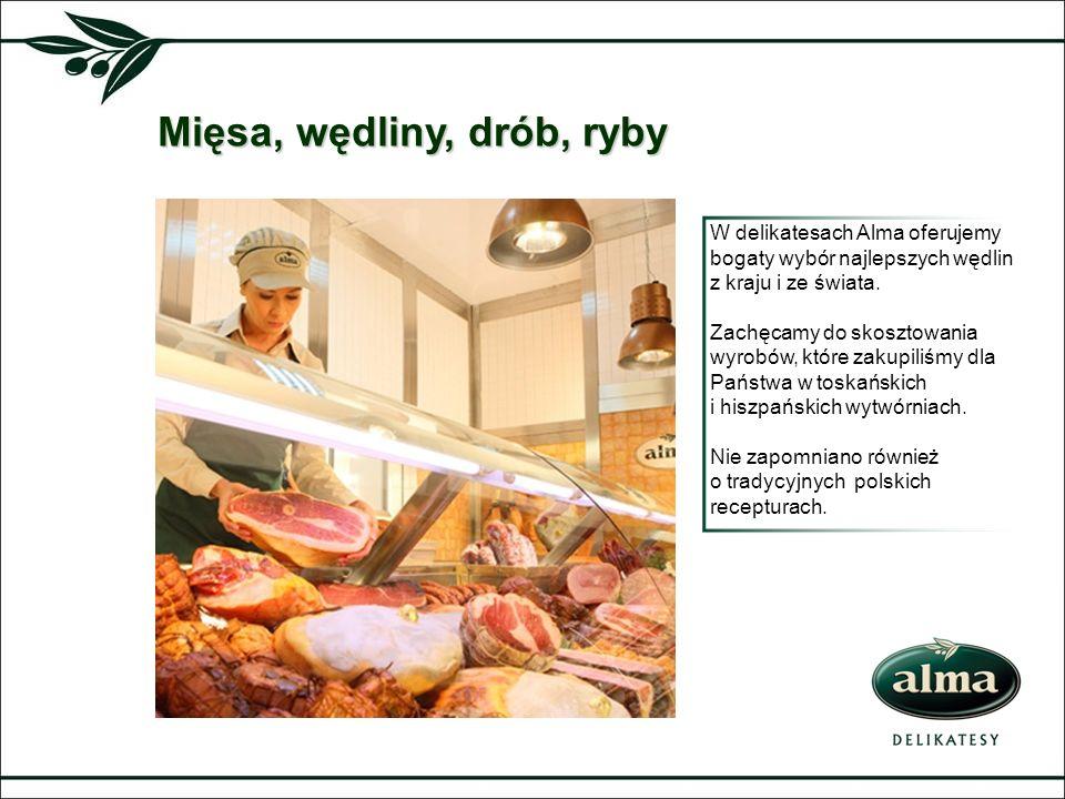 Mięsa, wędliny, drób, ryby W delikatesach Alma oferujemy bogaty wybór najlepszych wędlin z kraju i ze świata. Zachęcamy do skosztowania wyrobów, które