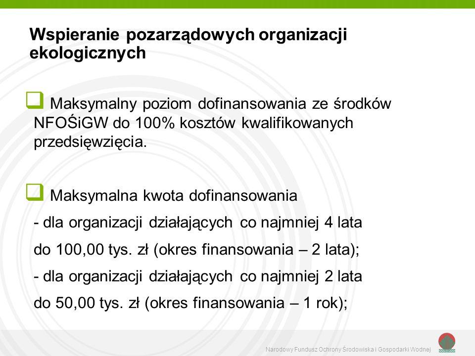 Narodowy Fundusz Ochrony Środowiska i Gospodarki Wodnej Maksymalny poziom dofinansowania ze środków NFOŚiGW do 100% kosztów kwalifikowanych przedsięwzięcia.