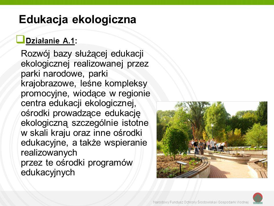 Narodowy Fundusz Ochrony Środowiska i Gospodarki Wodnej Działanie A.1: Rozwój bazy służącej edukacji ekologicznej realizowanej przez parki narodowe, parki krajobrazowe, leśne kompleksy promocyjne, wiodące w regionie centra edukacji ekologicznej, ośrodki prowadzące edukację ekologiczną szczególnie istotne w skali kraju oraz inne ośrodki edukacyjne, a także wspieranie realizowanych przez te ośrodki programów edukacyjnych Edukacja ekologiczna