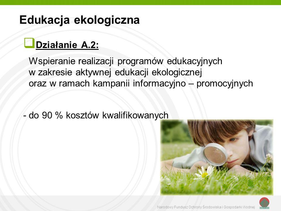 Narodowy Fundusz Ochrony Środowiska i Gospodarki Wodnej Działanie A.2: Wspieranie realizacji programów edukacyjnych w zakresie aktywnej edukacji ekologicznej oraz w ramach kampanii informacyjno – promocyjnych - do 90 % kosztów kwalifikowanych Edukacja ekologiczna