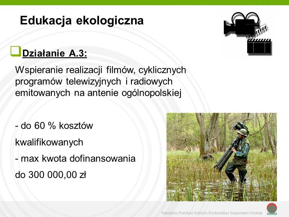 Narodowy Fundusz Ochrony Środowiska i Gospodarki Wodnej Działanie A.4 Wspieranie produkcji pomocy dydaktycznych - do 50 % kosztów kwalifikowanych Edukacja ekologiczna