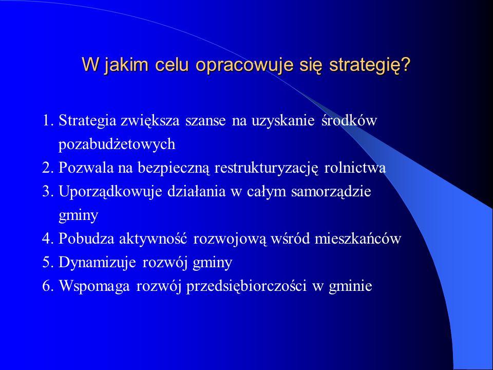 W jakim celu opracowuje się strategię? 1. Strategia zwiększa szanse na uzyskanie środków pozabudżetowych 2. Pozwala na bezpieczną restrukturyzację rol