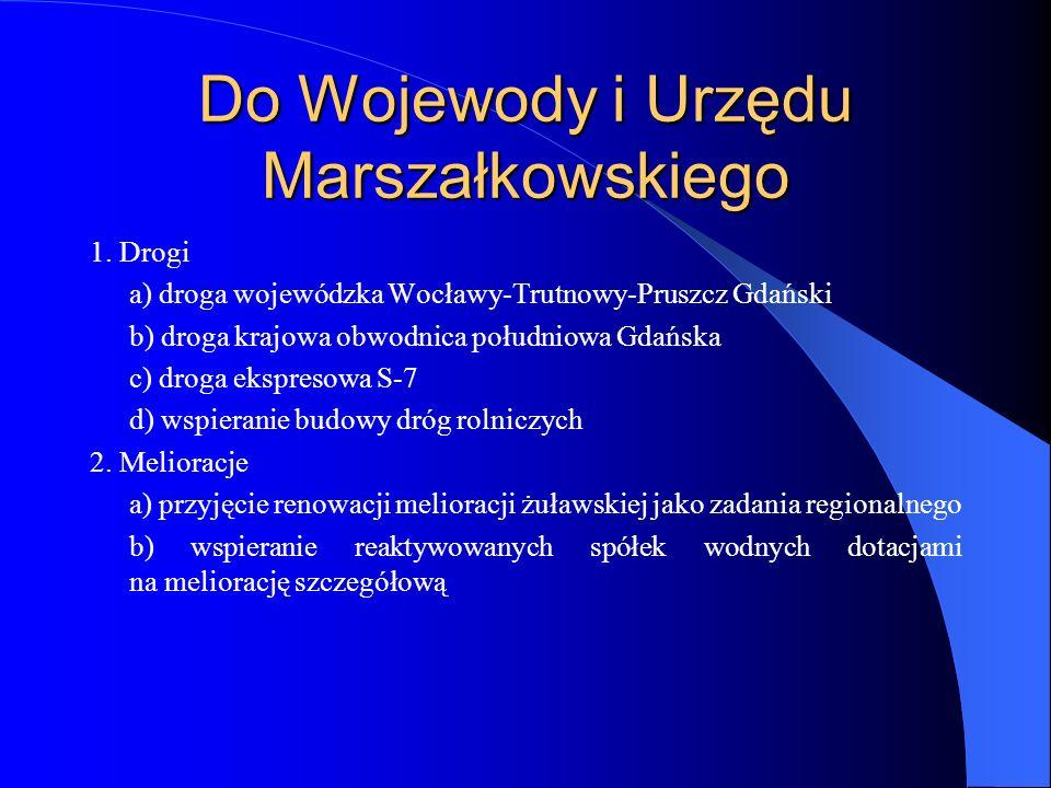 Do Wojewody i Urzędu Marszałkowskiego 1. Drogi a) droga wojewódzka Wocławy-Trutnowy-Pruszcz Gdański b) droga krajowa obwodnica południowa Gdańska c) d