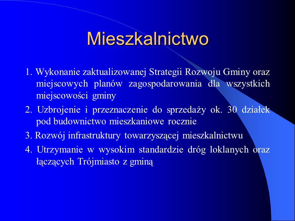 Mieszkalnictwo 1. Wykonanie zaktualizowanej Strategii Rozwoju Gminy oraz miejscowych planów zagospodarowania dla wszystkich miejscowości gminy 2. Uzbr