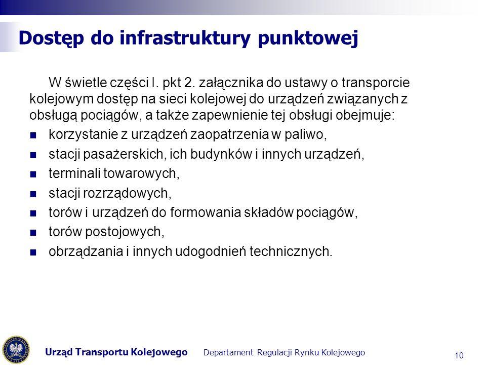 Urząd Transportu Kolejowego Departament Regulacji Rynku Kolejowego Dostęp do infrastruktury punktowej W świetle części I. pkt 2. załącznika do ustawy