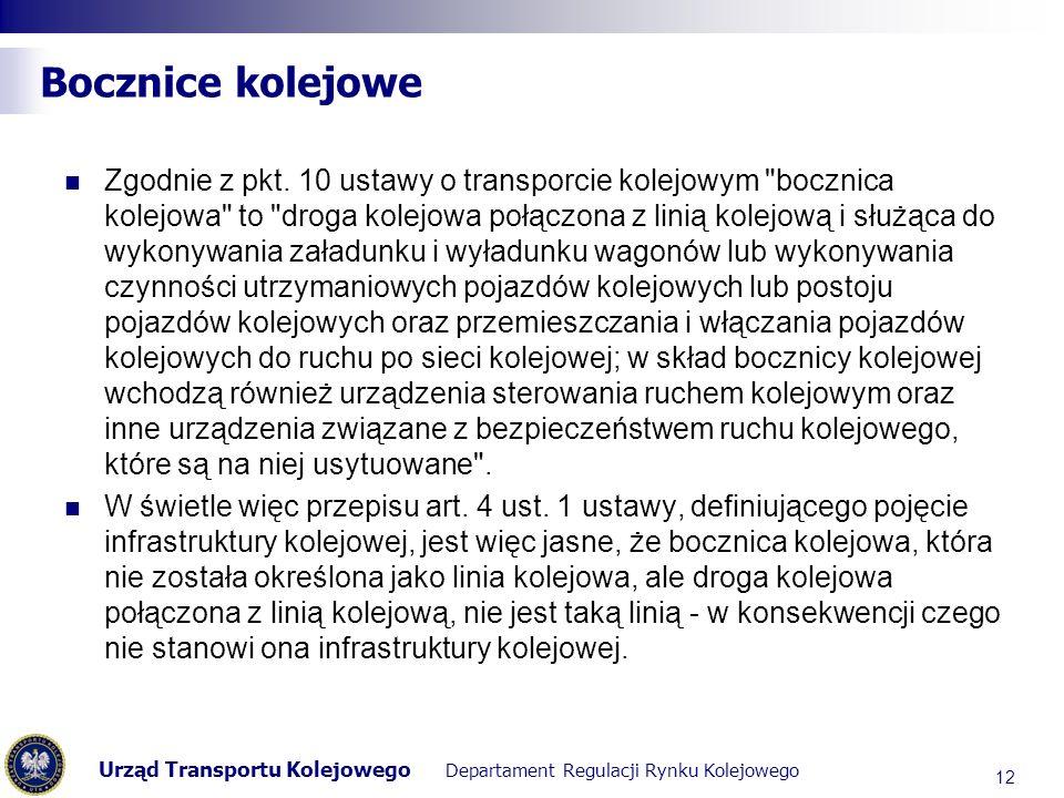 Urząd Transportu Kolejowego Departament Regulacji Rynku Kolejowego Bocznice kolejowe Zgodnie z pkt. 10 ustawy o transporcie kolejowym