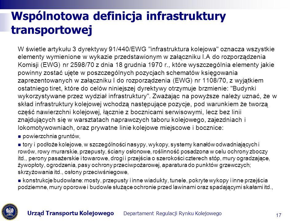 Urząd Transportu Kolejowego Departament Regulacji Rynku Kolejowego Wspólnotowa definicja infrastruktury transportowej W świetle artykułu 3 dyrektywy 9