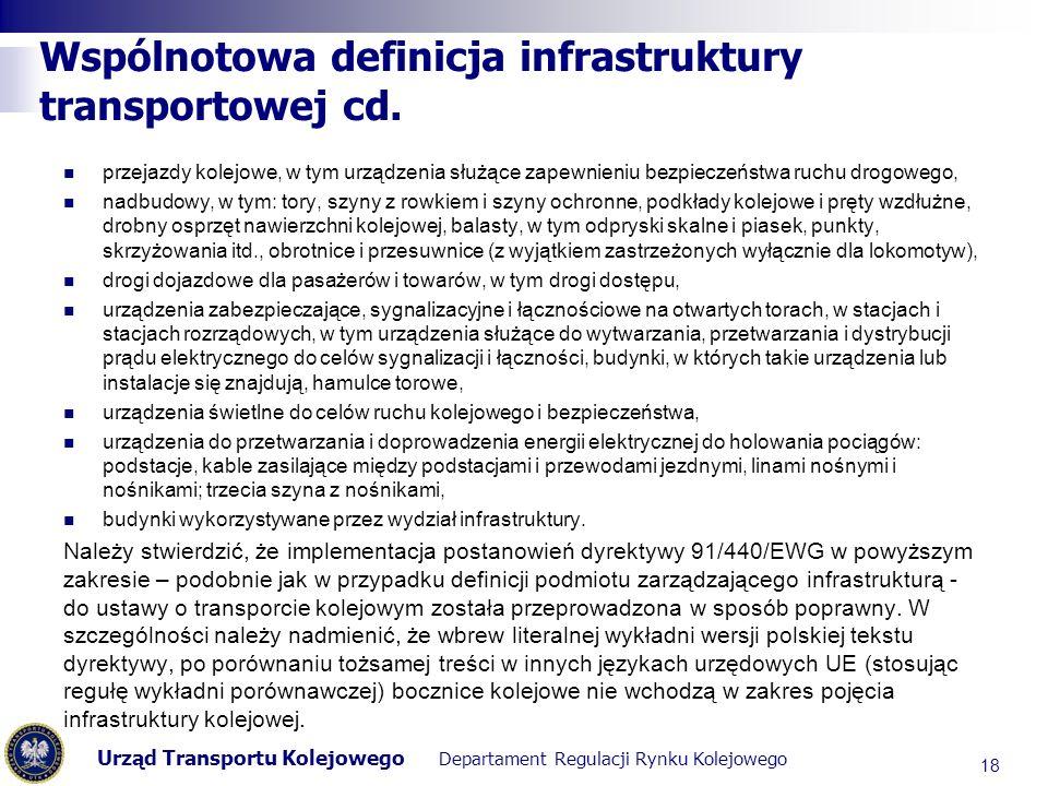 Urząd Transportu Kolejowego Departament Regulacji Rynku Kolejowego Wspólnotowa definicja infrastruktury transportowej cd. przejazdy kolejowe, w tym ur