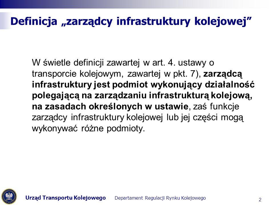 Urząd Transportu Kolejowego Departament Regulacji Rynku Kolejowego Definicja zarządcy infrastruktury kolejowej W świetle definicji zawartej w art. 4.