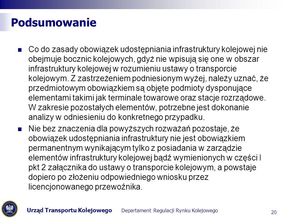 Urząd Transportu Kolejowego Departament Regulacji Rynku Kolejowego Podsumowanie Co do zasady obowiązek udostępniania infrastruktury kolejowej nie obej