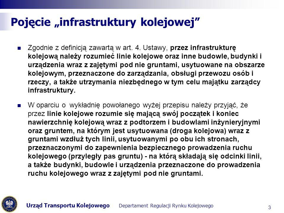 Urząd Transportu Kolejowego Departament Regulacji Rynku Kolejowego Pojęcie infrastruktury kolejowej Na podstawie definicji infrastruktury kolejowej należy uznać, że inne budowle, budynki i urządzenia wraz z zajętymi pod nie gruntami przy założeniu, że są, usytuowane na obszarze kolejowym oraz przeznaczone do zarządzania, obsługi przewozu osób i rzeczy, a także utrzymania niezbędnego w tym celu majątku zarządcy infrastruktury - mogą stanowić w oderwaniu od linii kolejowej czy też linii kolejowych odrębną infrastrukturę kolejową.