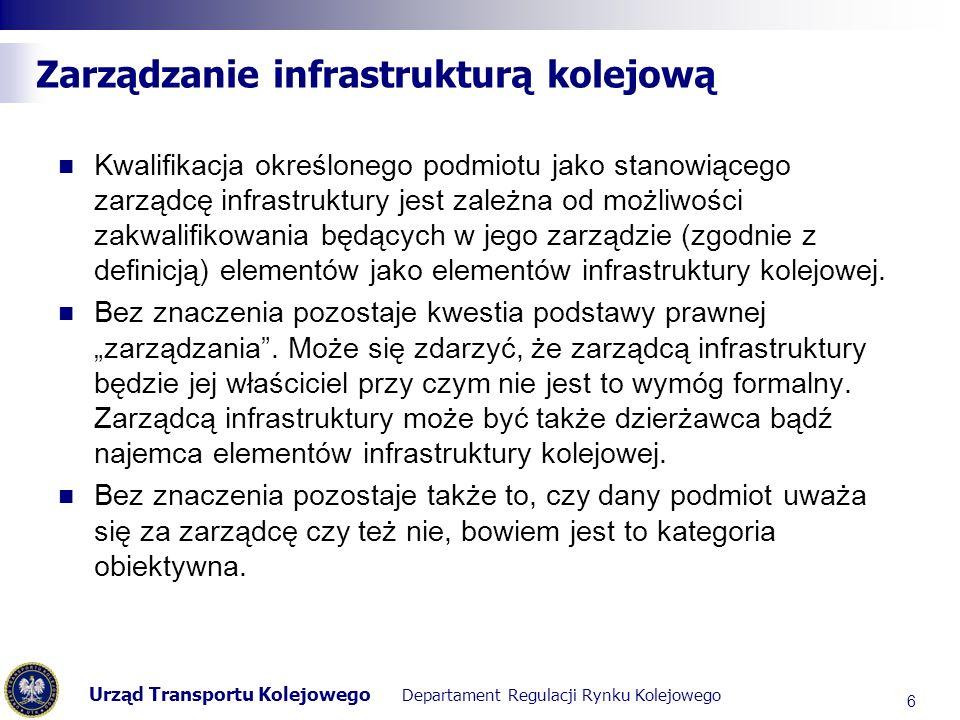 Urząd Transportu Kolejowego Departament Regulacji Rynku Kolejowego Wspólnotowa definicja infrastruktury transportowej W świetle artykułu 3 dyrektywy 91/440/EWG infrastruktura kolejowa oznacza wszystkie elementy wymienione w wykazie przedstawionym w załączniku I.A do rozporządzenia Komisji (EWG) nr 2598/70 z dnia 18 grudnia 1970 r., które wyszczególnia elementy jakie powinny zostać ujęte w poszczególnych pozycjach schematów księgowania zaprezentowanych w załączniku I do rozporządzenia (EWG) nr 1108/70, z wyjątkiem ostatniego tiret, które do celów niniejszej dyrektywy otrzymuje brzmienie: Budynki wykorzystywane przez wydział infrastruktury .