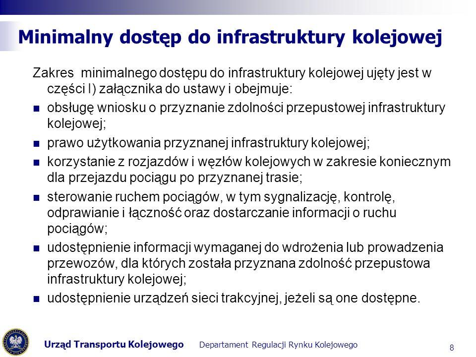 Urząd Transportu Kolejowego Departament Regulacji Rynku Kolejowego Obowiązek udostępniania infrastruktury kolejowej (w tym infrastruktury punktowej) Alternatywnym dla wskazanego wyżej źródła rodzącego obowiązek udostępnienia przewoźnikom elementów infrastruktury punktowej jest wykaz urządzeń zawarty w części I.