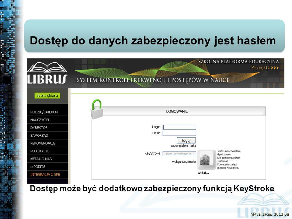 Dostęp do danych zabezpieczony jest hasłem Dostęp może być dodatkowo zabezpieczony funkcją KeyStroke Aktualizacja: 2011.08