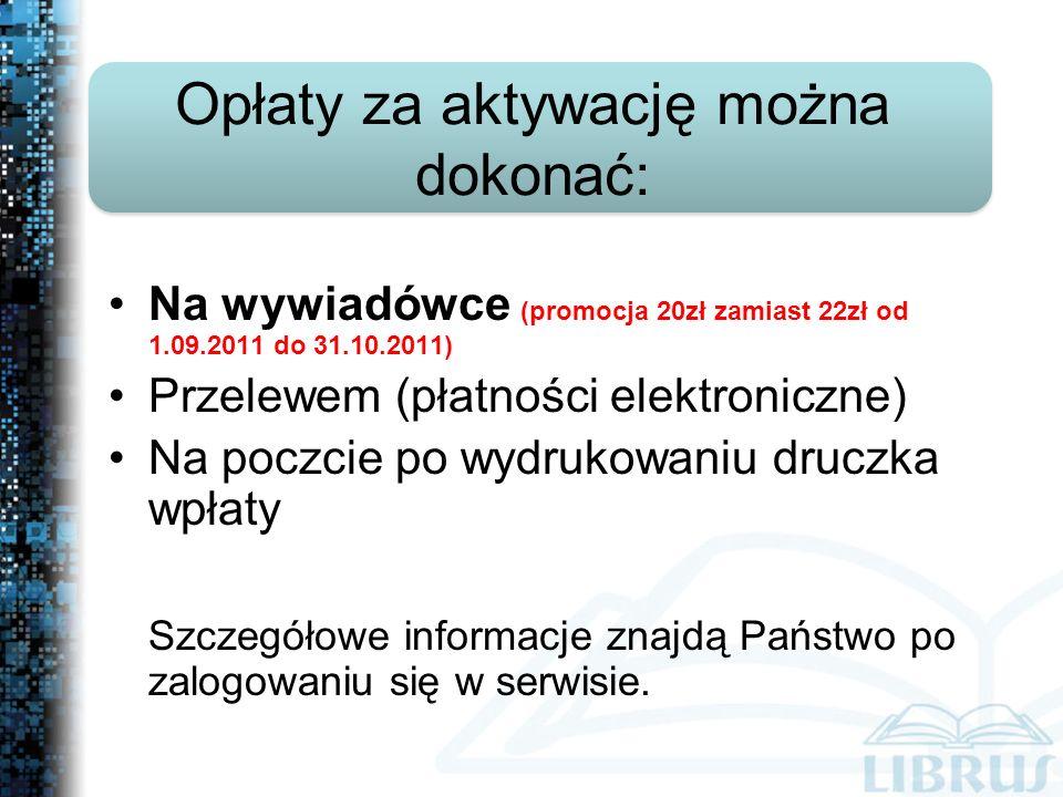Na wywiadówce (promocja 20zł zamiast 22zł od 1.09.2011 do 31.10.2011) Przelewem (płatności elektroniczne) Na poczcie po wydrukowaniu druczka wpłaty Szczegółowe informacje znajdą Państwo po zalogowaniu się w serwisie.