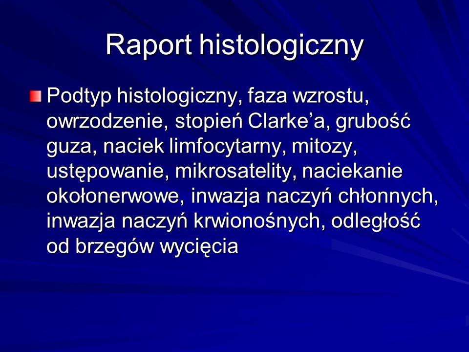 Raport histologiczny Podtyp histologiczny, faza wzrostu, owrzodzenie, stopień Clarkea, grubość guza, naciek limfocytarny, mitozy, ustępowanie, mikrosa