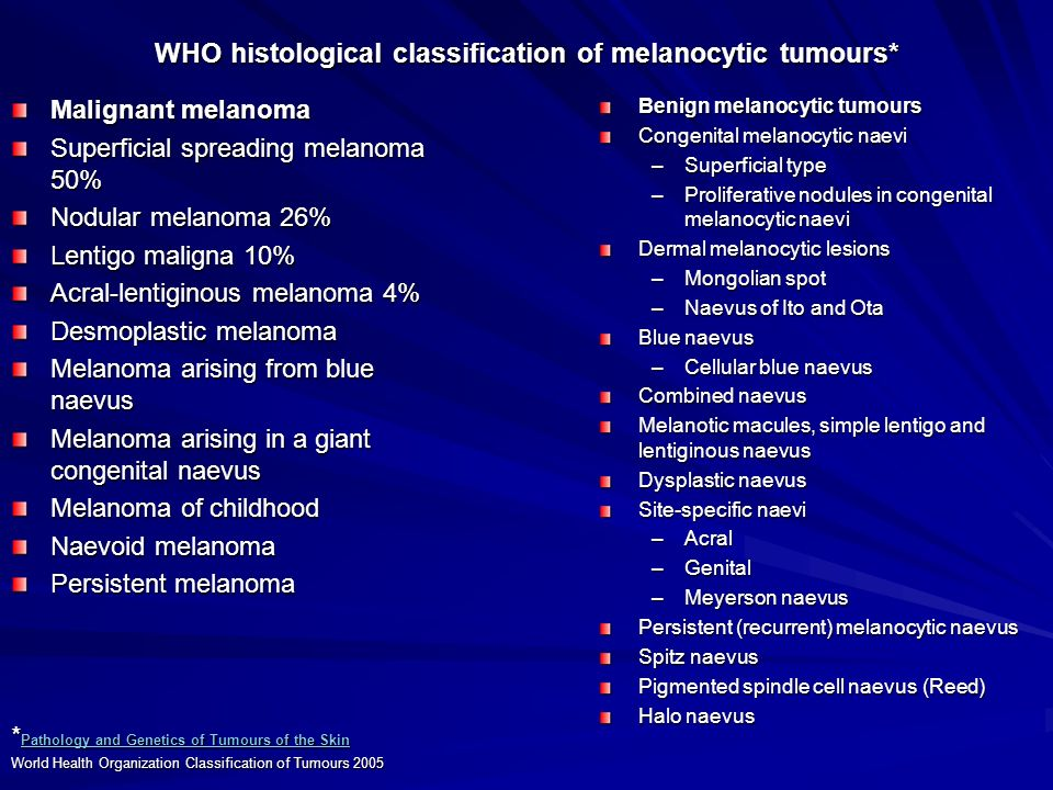 WHO histological classification of melanocytic tumours* Malignant melanoma Superficial spreading melanoma 50% Nodular melanoma 26% Lentigo maligna 10%