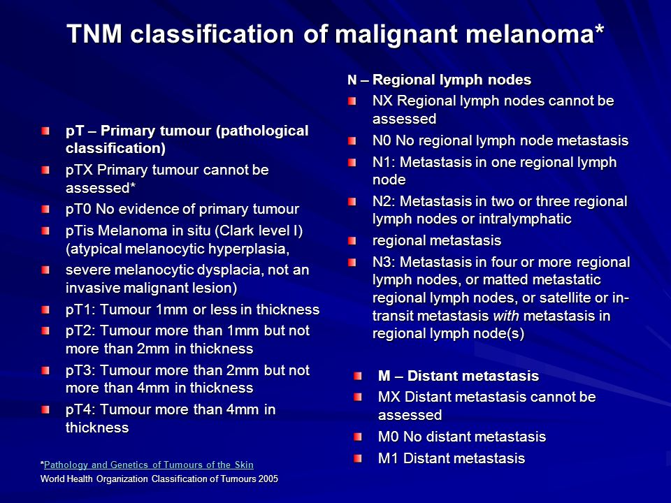 TNM classification of malignant melanoma* pT – Primary tumour (pathological classification) pTX Primary tumour cannot be assessed* pT0 No evidence of