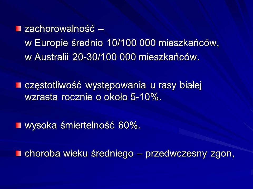 zachorowalność – w Europie średnio 10/100 000 mieszkańców, w Australii 20-30/100 000 mieszkańców. częstotliwość występowania u rasy białej wzrasta roc