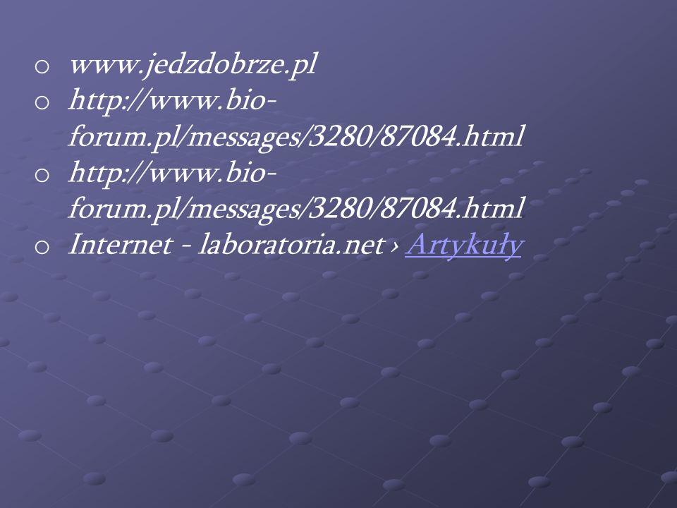 o www.jedzdobrze.pl o http://www.bio- forum.pl/messages/3280/87084.html o Internet - laboratoria.net ArtykułyArtykuły