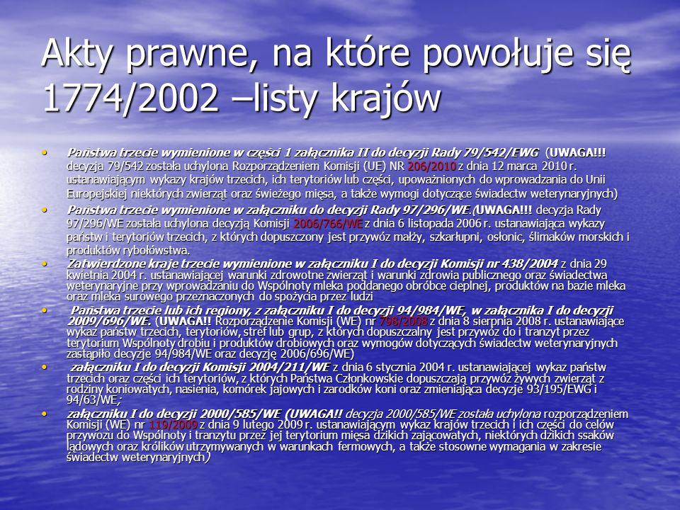 Akty prawne, na które powołuje się 1774/2002 –listy krajów Państwa trzecie wymienione w części 1 załącznika II do decyzji Rady 79/542/EWG (UWAGA!!! de
