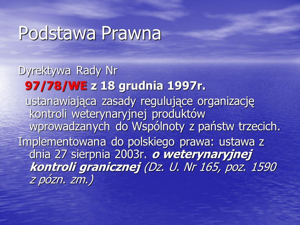 Podstawa Prawna Dyrektywa Rady Nr 97/78/WE z 18 grudnia 1997r. 97/78/WE z 18 grudnia 1997r. ustanawiająca zasady regulujące organizację kontroli weter