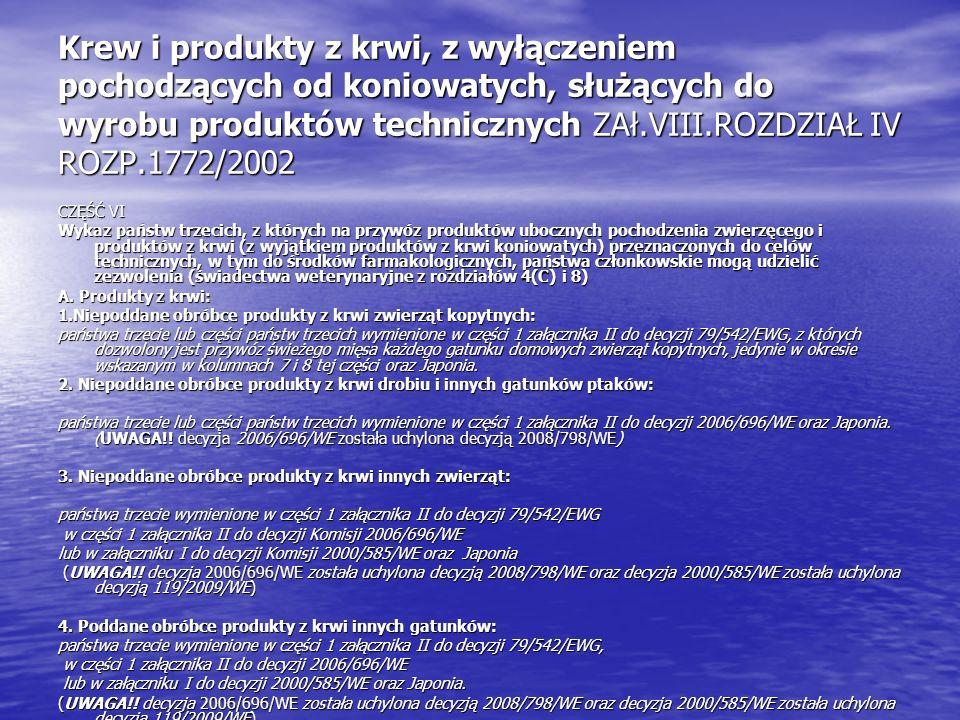 Krew i produkty z krwi, z wyłączeniem pochodzących od koniowatych, służących do wyrobu produktów technicznych ZAł.VIII.ROZDZIAŁ IV ROZP.1772/2002 CZĘŚ