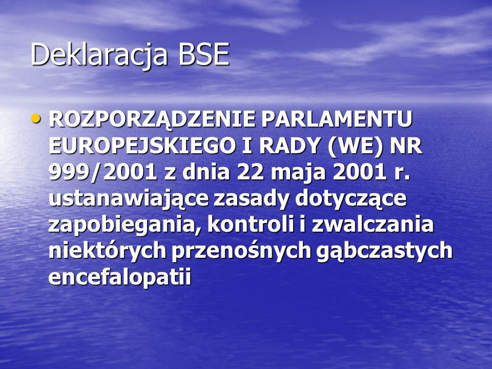 Deklaracja BSE ROZPORZĄDZENIE PARLAMENTU EUROPEJSKIEGO I RADY (WE) NR 999/2001 z dnia 22 maja 2001 r. ustanawiające zasady dotyczące zapobiegania, kon