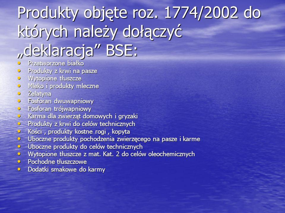 Produkty objęte roz. 1774/2002 do których należy dołączyć deklaracja BSE: Przetworzone białko Przetworzone białko Produkty z krwi na pasze Produkty z