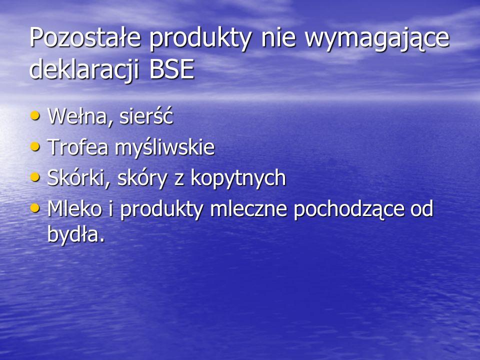 Pozostałe produkty nie wymagające deklaracji BSE Wełna, sierść Wełna, sierść Trofea myśliwskie Trofea myśliwskie Skórki, skóry z kopytnych Skórki, skó