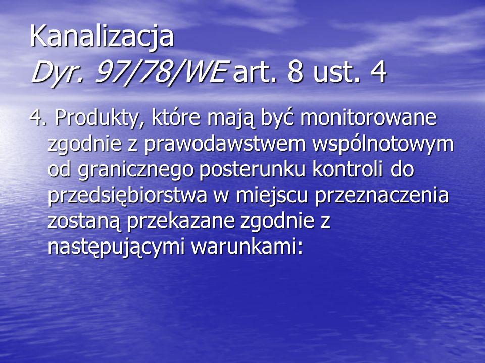 Kanalizacja Dyr. 97/78/WE art. 8 ust. 4 4. Produkty, które mają być monitorowane zgodnie z prawodawstwem wspólnotowym od granicznego posterunku kontro