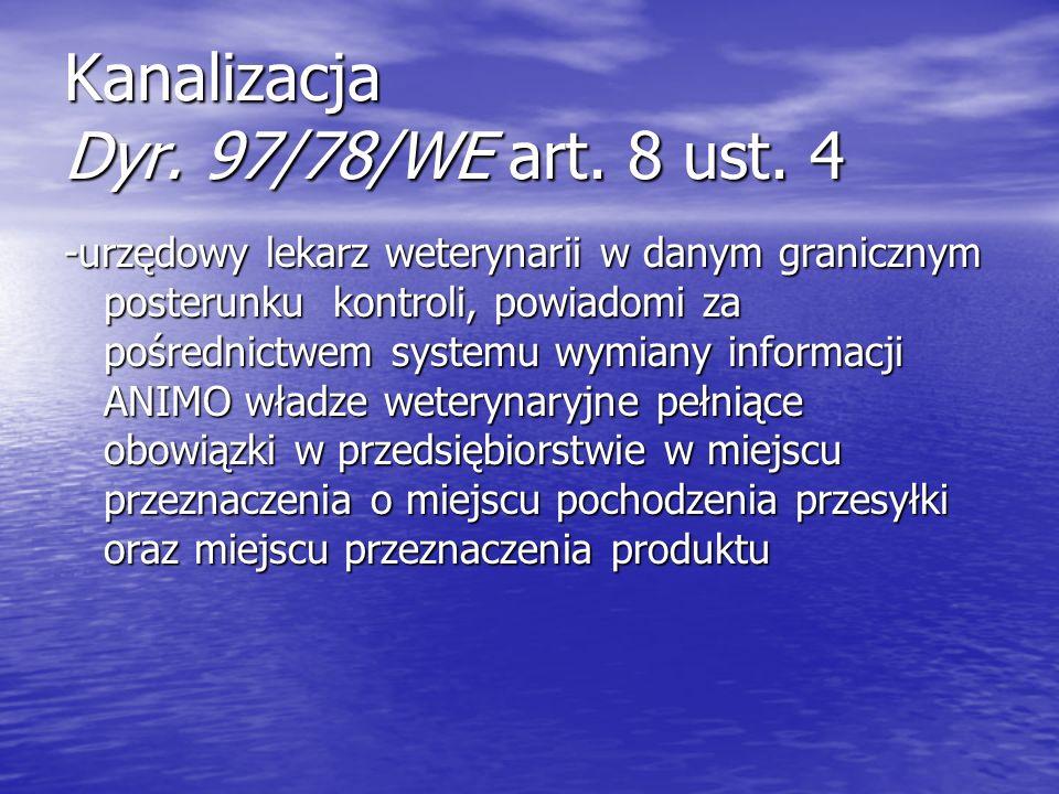 Kanalizacja Dyr. 97/78/WE art. 8 ust. 4 -urzędowy lekarz weterynarii w danym granicznym posterunku kontroli, powiadomi za pośrednictwem systemu wymian