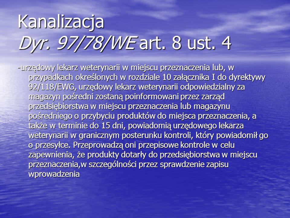 Kanalizacja Dyr. 97/78/WE art. 8 ust. 4 -urzędowy lekarz weterynarii w miejscu przeznaczenia lub, w przypadkach określonych w rozdziale 10 załącznika