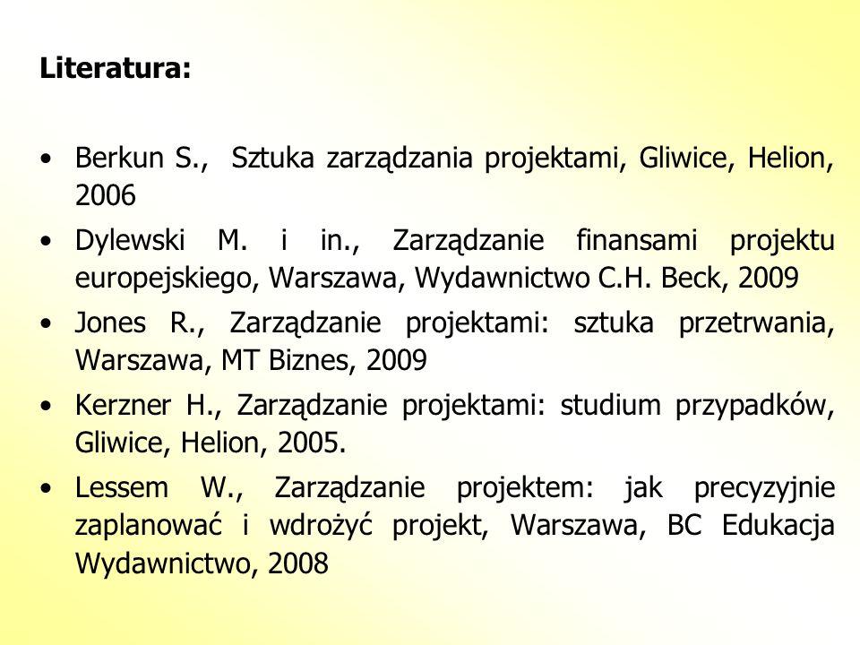 Literatura: Berkun S., Sztuka zarządzania projektami, Gliwice, Helion, 2006 Dylewski M. i in., Zarządzanie finansami projektu europejskiego, Warszawa,