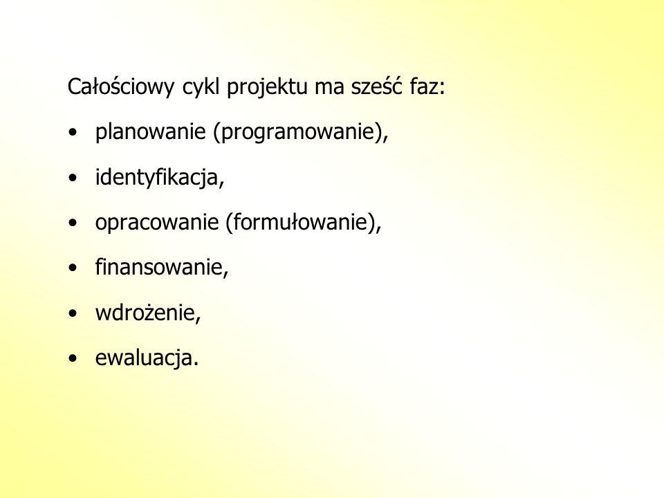 Całościowy cykl projektu ma sześć faz: planowanie (programowanie), identyfikacja, opracowanie (formułowanie), finansowanie, wdrożenie, ewaluacja.