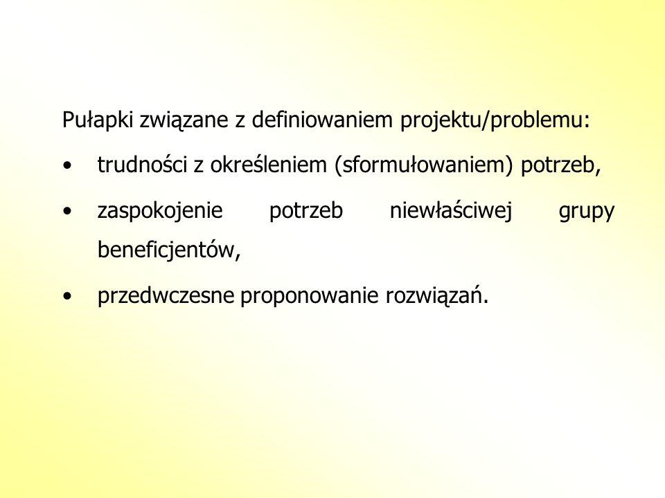 Pułapki związane z definiowaniem projektu/problemu: trudności z określeniem (sformułowaniem) potrzeb, zaspokojenie potrzeb niewłaściwej grupy beneficj