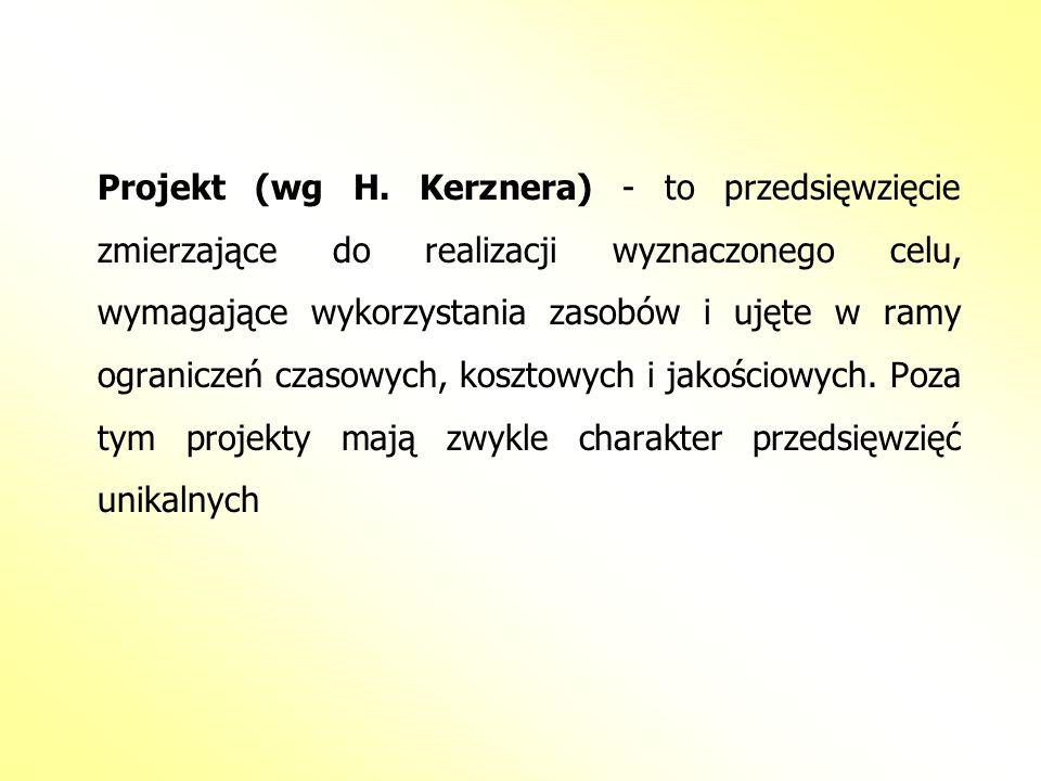 Projekt (wg H. Kerznera) - to przedsięwzięcie zmierzające do realizacji wyznaczonego celu, wymagające wykorzystania zasobów i ujęte w ramy ograniczeń