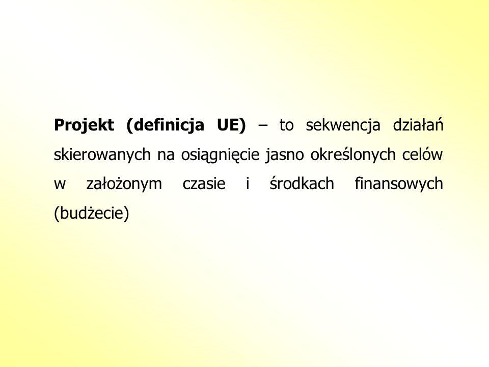Projekt (definicja UE) – to sekwencja działań skierowanych na osiągnięcie jasno określonych celów w założonym czasie i środkach finansowych (budżecie)