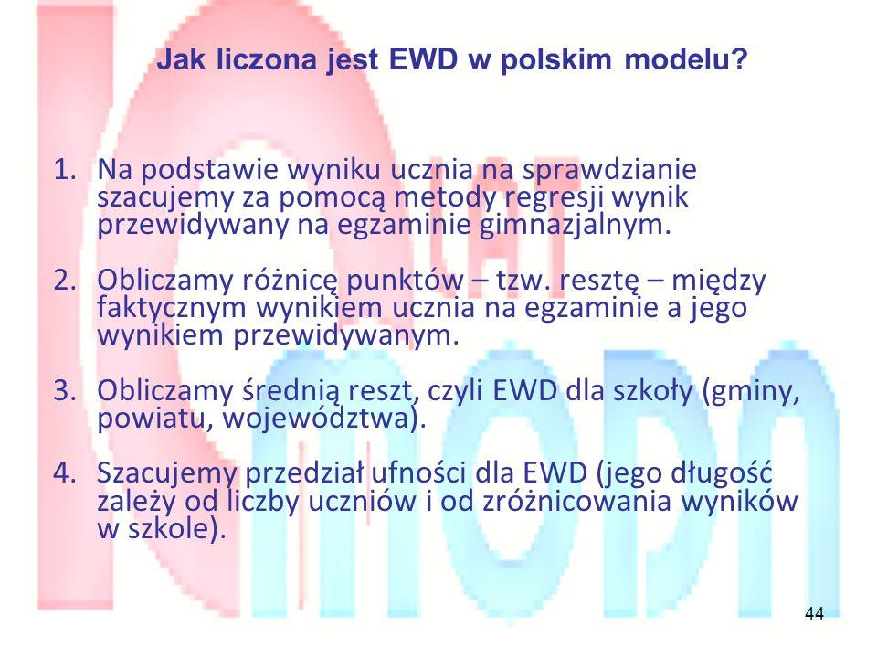 44 Jak liczona jest EWD w polskim modelu? 1.Na podstawie wyniku ucznia na sprawdzianie szacujemy za pomocą metody regresji wynik przewidywany na egzam