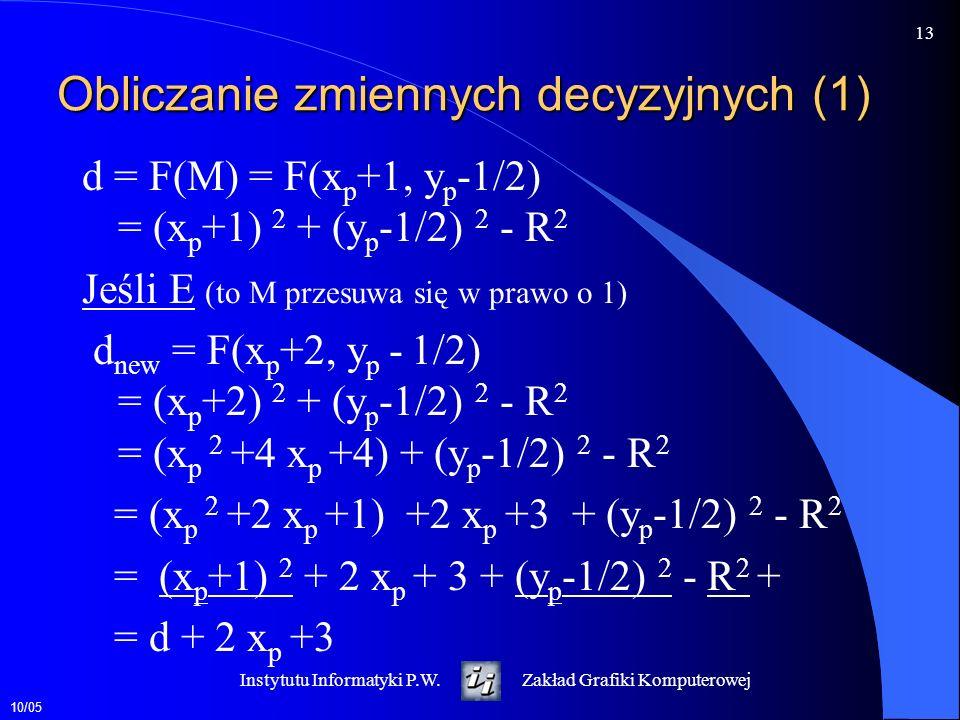 10/05 13 Instytutu Informatyki P.W.Zakład Grafiki Komputerowej Obliczanie zmiennych decyzyjnych (1) d = F(M) = F(x p +1, y p -1/2) = (x p +1) 2 + (y p