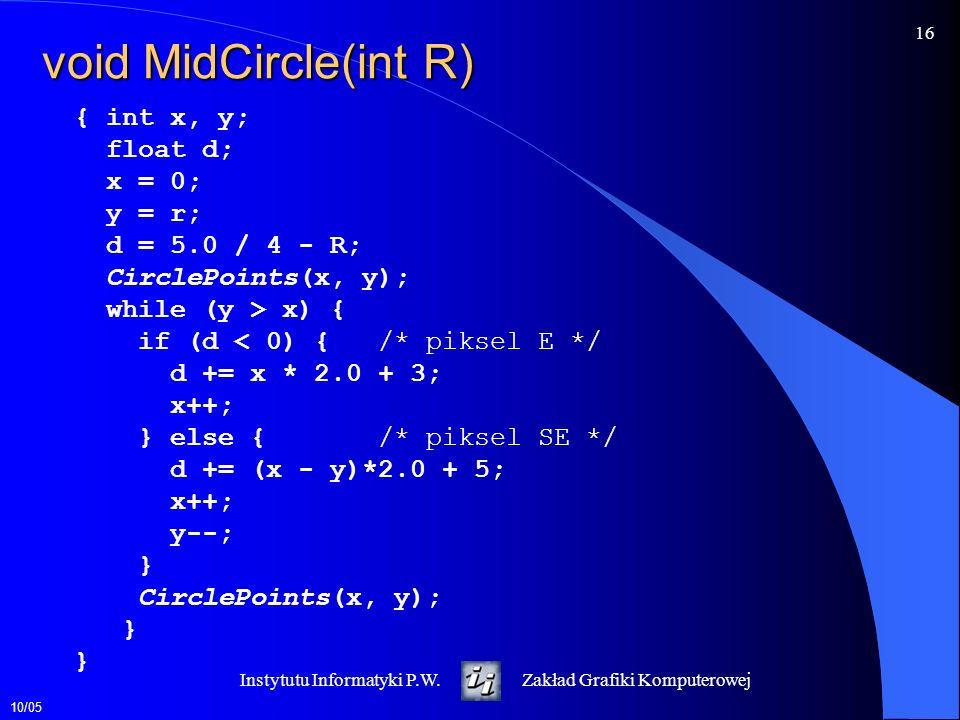 10/05 16 Instytutu Informatyki P.W.Zakład Grafiki Komputerowej void MidCircle(int R) { int x, y; float d; x = 0; y = r; d = 5.0 / 4 - R; CirclePoints(