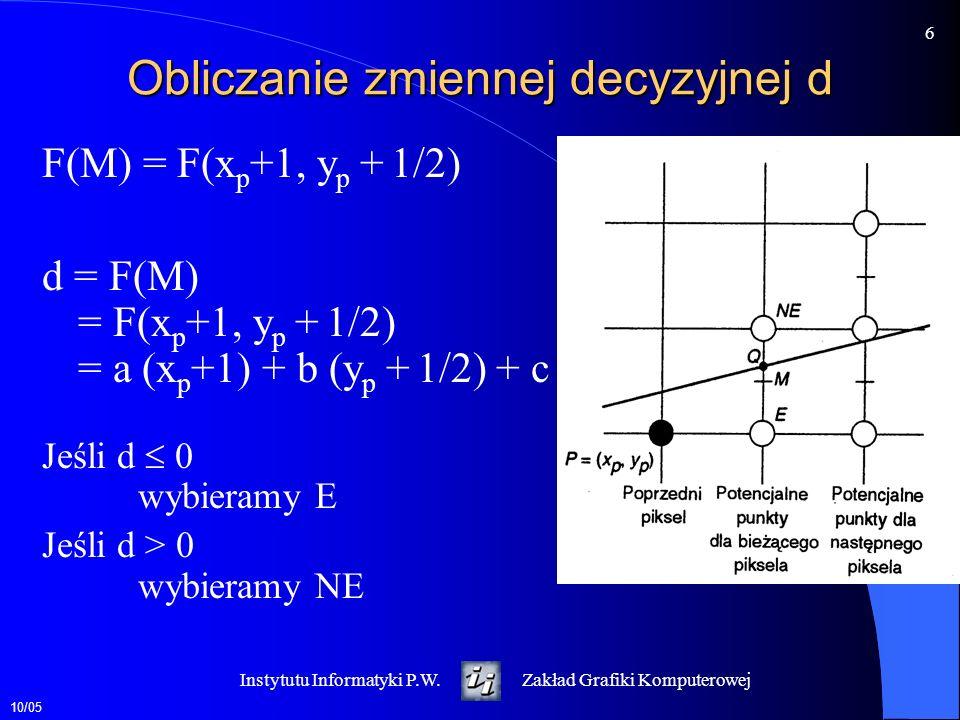 10/05 6 Instytutu Informatyki P.W.Zakład Grafiki Komputerowej Obliczanie zmiennej decyzyjnej d F(M) = F(x p +1, y p + 1/2) d = F(M) = F(x p +1, y p +