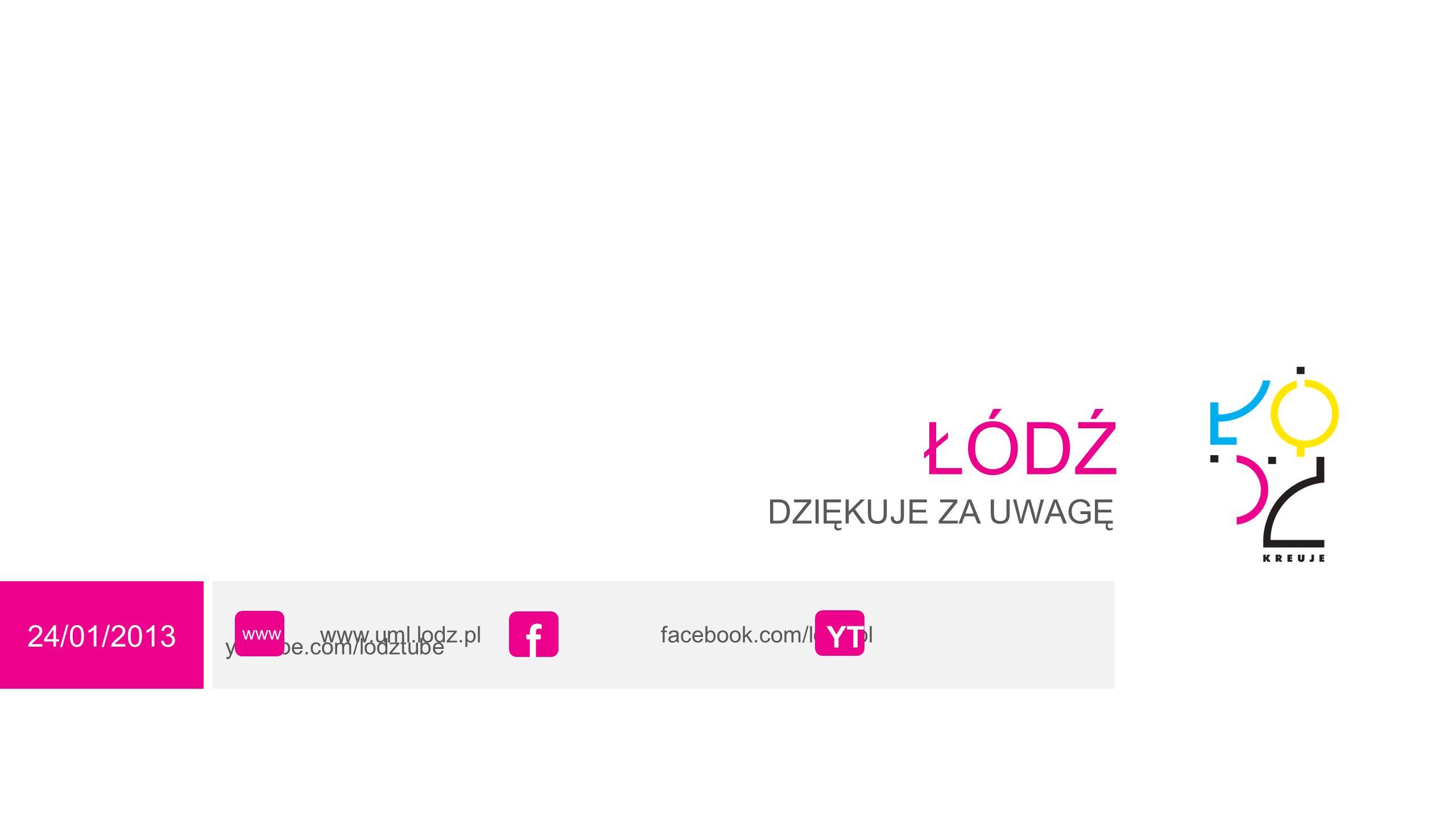 24/01/2013 ŁÓDŹ DZIĘKUJE ZA UWAGĘ www.uml.lodz.pl facebook.com/lodz.pl youtube.com/lodztube www f YT